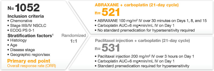 ABRAXANE phase 3 trial design for non-small cell lung cancer
